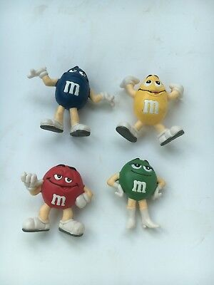 "SET OF 4 M&M CHARACTERS FIGURES  - RED, YELLOW, GREEN, AND BLUE - 2""  High"