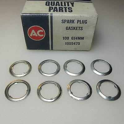 NOS AC Spark Plug 14mm  'Spin-On' Gasket Set of 8 OEM for all GM 1966 to 1972