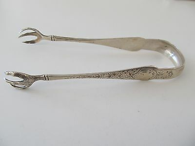 Etched Antique Hallmarked  Sterling Silver Tongs