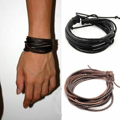 Fashion Mens Women Jewelry Girls Wrap Leather Charm Bracelet Chain Bangle Gifts
