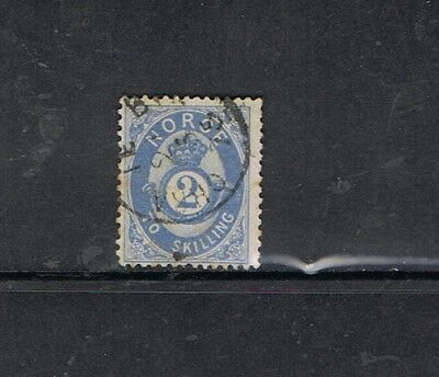 NORWAY - 1871/75 2 s. outremer. COR OMBRÉ