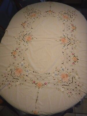 OFF White OVAL Cotton Hand Embroidered Cut Work (FLORAL) Table Cloth  64x80