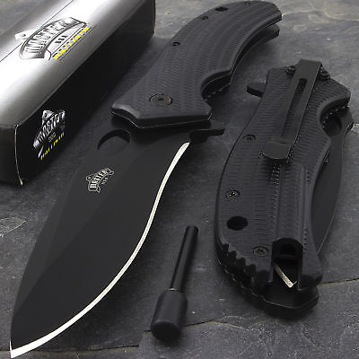 """9"""" Master Assisted Open Tactical w Fire Starter Camping Folding Pocket Knife New"""