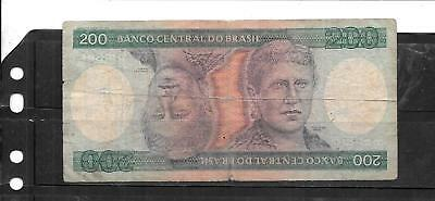 BRAZIL #199a 1981 200 CRUZEIROS VG CIRCULATED BANKNOTE PAPER MONEY BILL NOTE
