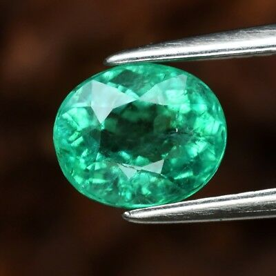 RARE! CERTIFICATE Inc.*1.22ct 7x6mm Oval Natural Green Emerald, Ethiopia