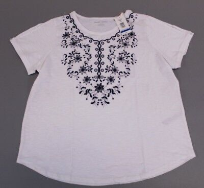e99237a357139 Allison Daley Women s Short Sleeve Printed Top SI4 White  Blue Size XL NWT   32