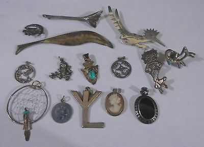 Lot Of 15 Assorted Sterling Silver Pendants And Pins. TESTED. (430)
