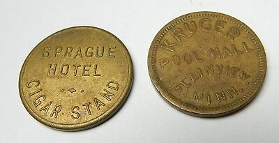 2 Old Brass Trade Tokens Sprague Hotel Cigar Stand & Kruger Pool Hall Mn