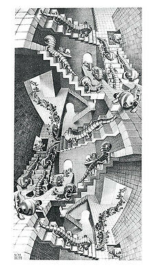 House of Stairs by M. C. Escher Art Print Climb Fantasy Poster 17.75x31.25