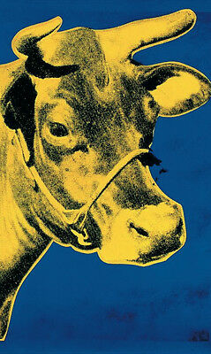Cow Yellow on Blue Background (sm) by Andy Warhol Offset Lithograph Print Poster