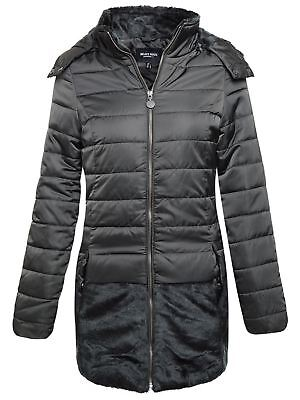 New Brave Soul Womens Ladies Puffer Quilted Fur Collar Hooded Parka Coat Jacket