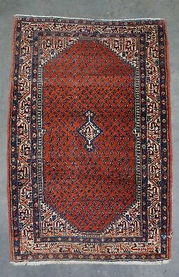 "Estate Found Antique 19c Middle Eastern All Natural Wool Rug 4' 1"" x 2' 7"""