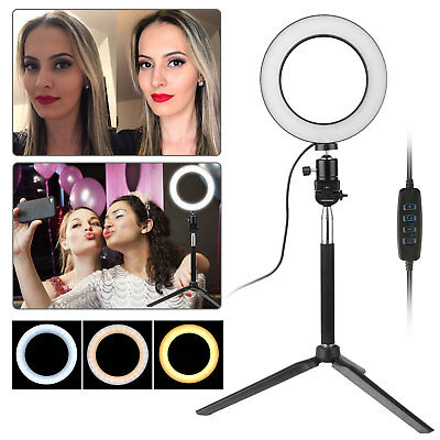 "6"" Dimmable 5500K LED Ring Light Kit with Stand for Makeup Phone Camera Selfie"