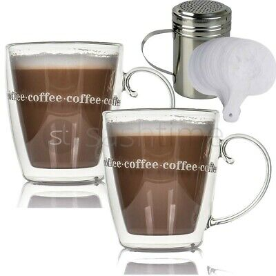 2 x Large Double Wall Coffee Mug Thermal With Chocolate Shaker Duster 16 Stencil