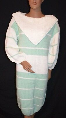 Vintage 80s Green White Hand Knit Heavy Weight Sweater Dress - L - mint cond
