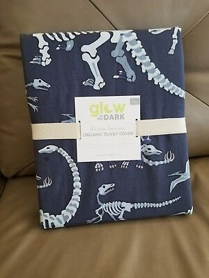 Pottery Barn Kids PBK GLOW IN THE DARK DINO BONES BLUE Full /Queen DUVET NEW!