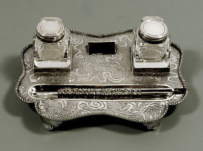 Chinese Export Silver Desk Set    c1890 Wang Hing - Dragon & Flames