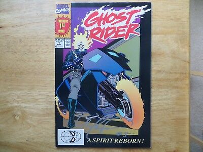1990 Vintage Marvel Ghost Rider # 1 Signed By Mark 'tex' Texeira Art, With Poa
