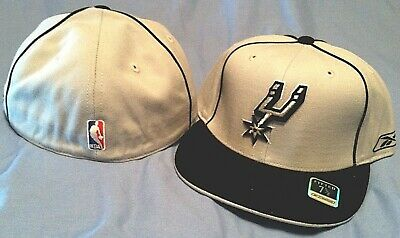 online store 981b3 94c91 San Antonio Spurs Flat Brim Fitted Grey Black Officially Licensed Nba Cap  Reebok