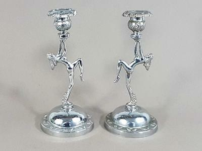 Beautiful Pair Of Vintage Art Deco Chrome Dancing Lady Candlesticks
