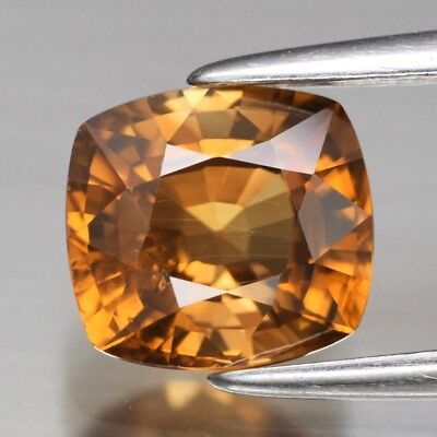 VS 1.99ct 7x6.4mm Cushion Natural Unheated Orange Zircon, Tanzania