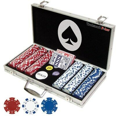300 Pc Poker Chips Set 11.5g Clay Composite Card Game Texas Holdem Kit