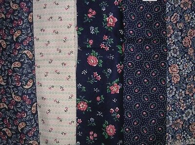035J Vintage COTTON QUILT Fabric 5 Different COORDINATING Florals TOTAL 3.5+ YDS