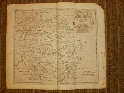 Original 1672 Map from Britannia, Hereford Shire by Robert Morden