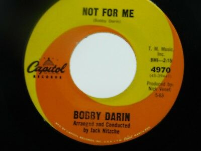 Bobby Darin 45 rpm Not For You/18 Yellow Roses Capital Records 4970