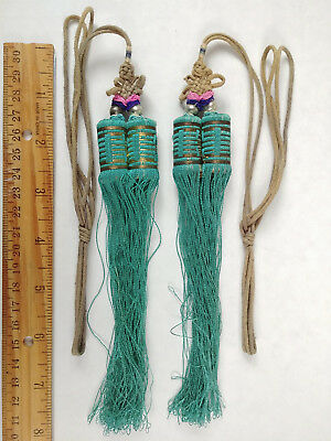 RARE ANTIQUE Chinese Sewing Basket Betty-Lou Collection Tassels & Beads 104