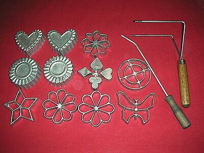 Vintage Nordic Ware Double Rosette Iron with 8 Pastry Molds Timbales + Extras