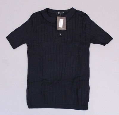 5669011586f10 Boohoo Men's Muscle Fit Rib Knitted Short Sleeve Polo SV3 Black Large NWT
