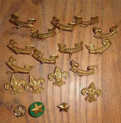 Lot 15 Boy Scout Pins 4 Tenderfoot 11 Second Class 3 Stars B.S. of A