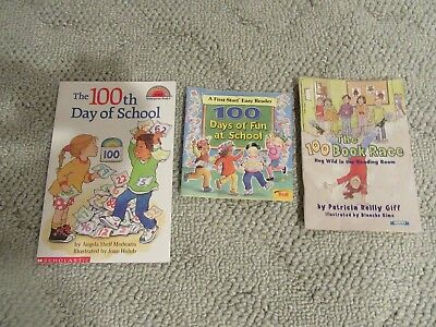 Lot of 3 100th Day of School Picture Books Teacher 100 Days of Fun at School Sc