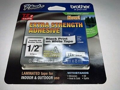 Brother P-Touch TZe-2312PK Laminated P-touch Black Print on White Tape