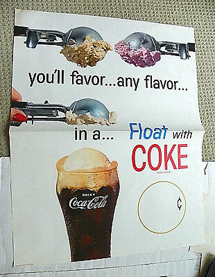 "1960's ""DRINK COCA-COLA"" ~  FLOAT WITH COKE"" PAPER LARGE WALL SIGN"