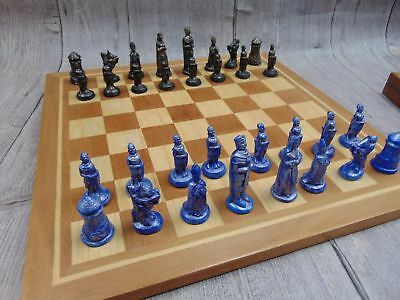 Decorative Arthurian Style CHESS SET Resin Playing Pieces Wooden Board - C68