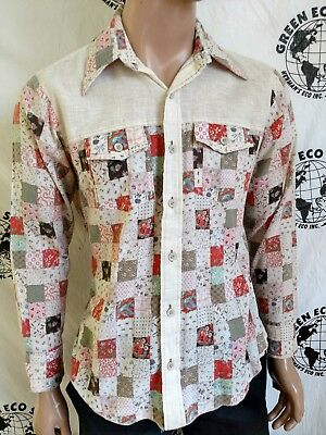 Vtg Mens L 1970s Shirt  hippy faux patchwork  made in USA his