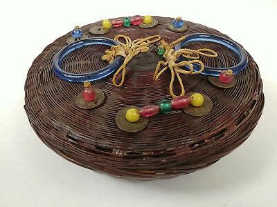 SMALL ANTIQUE Chinese Sewing Basket Betty-Lou Collection Coins Beads Tassels 112