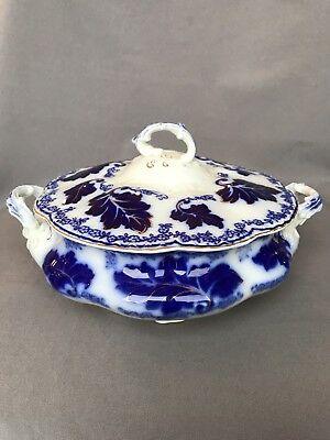 Antique Blue White Porcelain Normandy Round Tureen Covered Vegetable Casserole