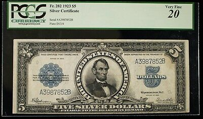 1923 PCGS VF20 $5 Silver Certificate Fr#282 Lincoln Porthole Item#M4733