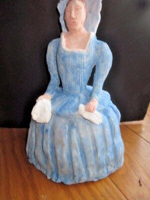 Unique Handmade French Lady Blue Dress Clay  Sculpture One-Of-A-Kind Not A Mold