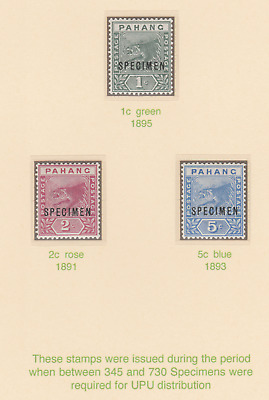 613  MALAYA - PAHANG 1891-95 TIGERS SPECIMEN set of 3 - about 750 produced