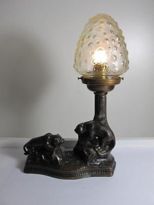 Antique Vintage Art Deco Lion Table Lamp Shade Glass