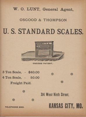 1889 Ad W. O. Lunt Osgood & Thompson U. S. Standard Scales Salina Normal Univer.