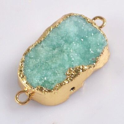 Green Agate Druzy Geode Connector Gold Plated H129180