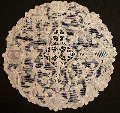 Antique Victorian Lace Italian Milanese Large Handmade Doily 11-1/2""