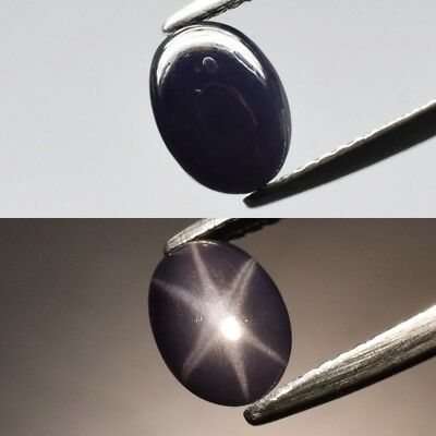 Rare! 1.94ct 8.4x6.2mm Oval Cabochon Natural Deep Purple Sharp 6 Ray Star Spinel