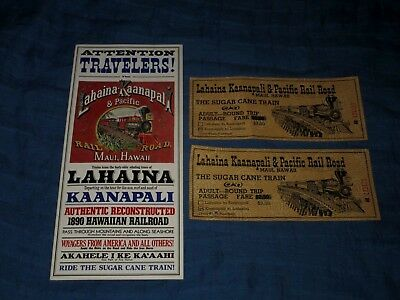 LAHAINA-KAANAPALI & PACIFIC RAILROAD-MAUI, HAWAII-1970s BROCHURE & TWO TICKETS
