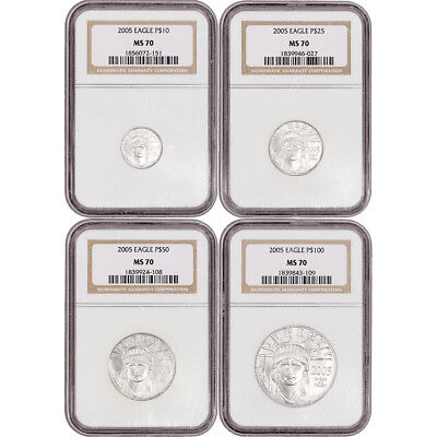2005 American Platinum Eagle - 4-pc Year Set - NGC MS70